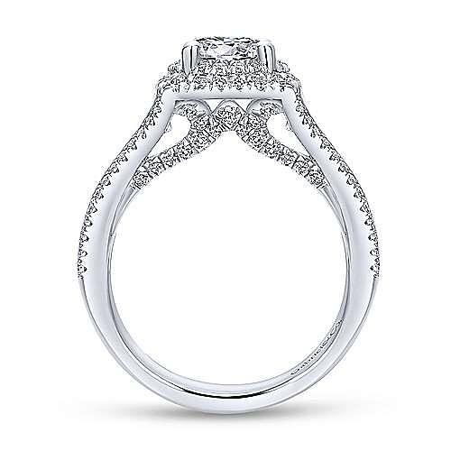 Calendula 14k White Gold Round Double Halo Engagement Ring angle 2