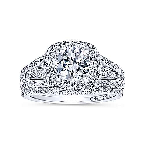 Calendula 14k White Gold Round Double Halo Engagement Ring angle 4