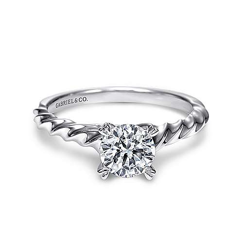 Cali 14k White Gold Round Solitaire Engagement Ring angle 1