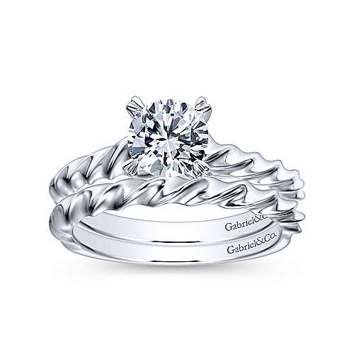 Cali 14k White Gold Round Solitaire Engagement Ring angle 4