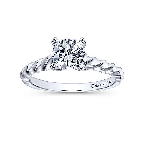 Cali 14k White Gold Round Solitaire Engagement Ring angle 5