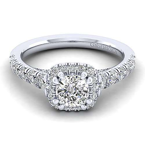 Gabriel - Calla 14k White Gold Cushion Cut Halo Engagement Ring