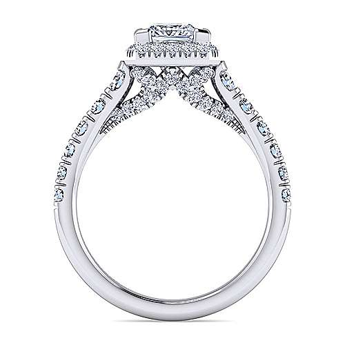 Calla 14k White Gold Princess Cut Halo Engagement Ring angle 2