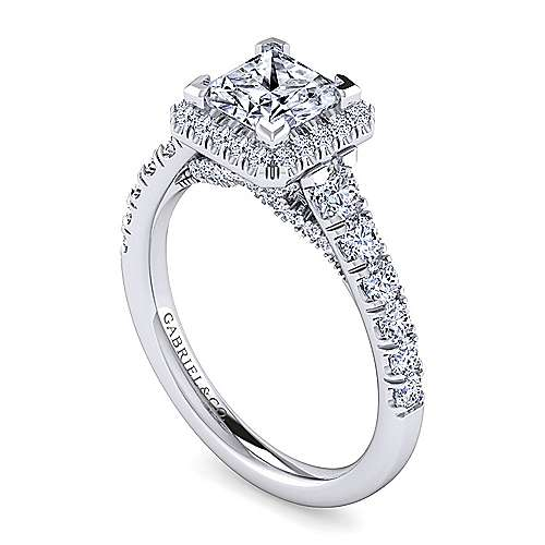 Calla 14k White Gold Princess Cut Halo Engagement Ring angle 3