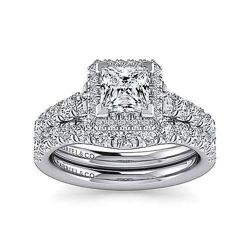 Calla 14k White Gold Princess Cut Halo Engagement Ring angle 4