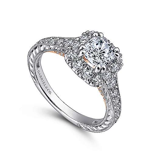 Callie 14k White And Rose Gold Cushion Cut Halo Engagement Ring angle 3
