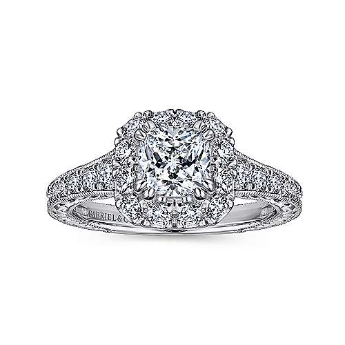 Callie 14k White And Rose Gold Cushion Cut Halo Engagement Ring angle 5