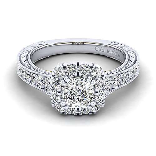 Gabriel - Callie 14k Yellow And White Gold Cushion Cut Halo Engagement Ring