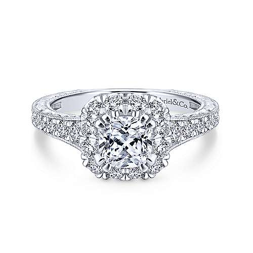 Gabriel - Callie 18k White And Rose Gold Cushion Cut Halo Engagement Ring