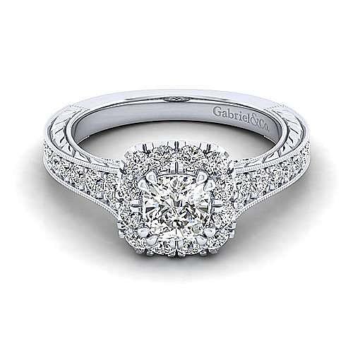 Gabriel - Callie Platinum Cushion Cut Halo Engagement Ring