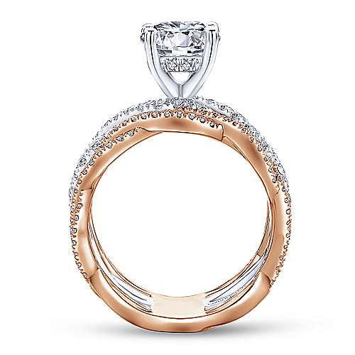 Calm 18k White And Rose Gold Round Twisted Engagement Ring angle 2