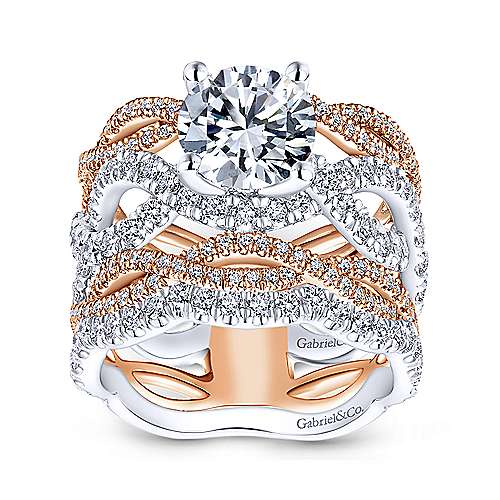 Calm 18k White And Rose Gold Round Twisted Engagement Ring angle 4