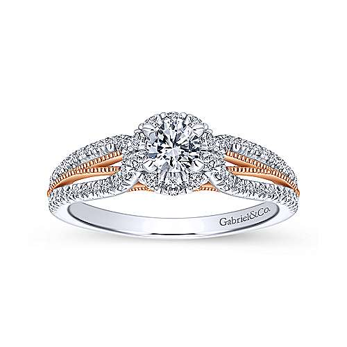 Calypso 14k White And Rose Gold Round Halo Engagement Ring angle 5