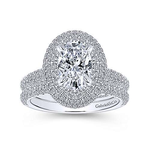 Camellia 18k White Gold Oval Double Halo Engagement Ring angle 4