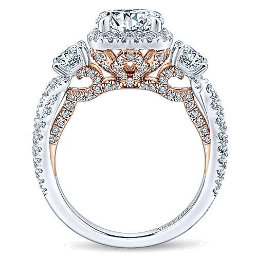 Camilla 18k White And Rose Gold Round 3 Stones Halo Engagement Ring angle 2