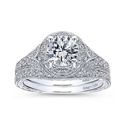 Camlet 18k White Gold Round Halo Engagement Ring