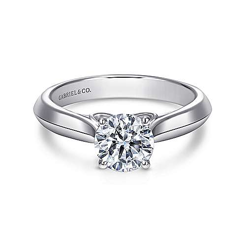 Gabriel - Campanula 18k White Gold Round Solitaire Engagement Ring
