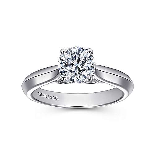 Campanula 18k White Gold Round Solitaire Engagement Ring angle 5