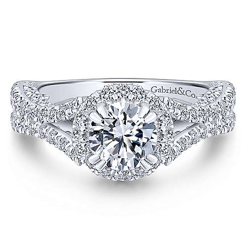 Gabriel - Cannes 14k White Gold Round Halo Engagement Ring