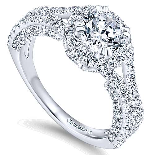 Cannes 14k White Gold Round Halo Engagement Ring angle 3