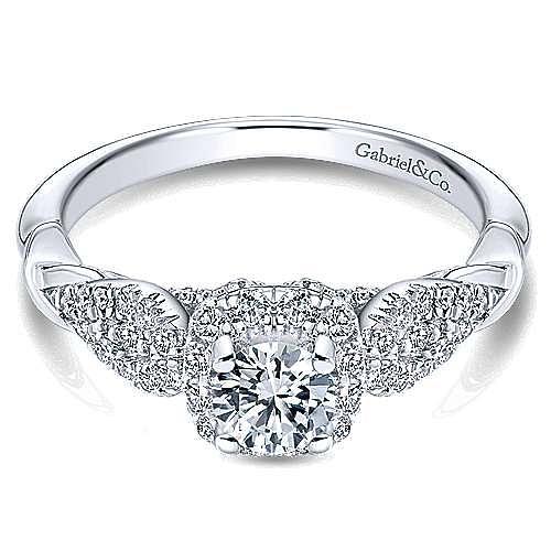 Gabriel - Canvas 14k White Gold Round Halo Engagement Ring