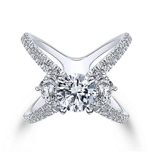 Cara 18k White Gold Round 3 Stones Engagement Ring angle 1