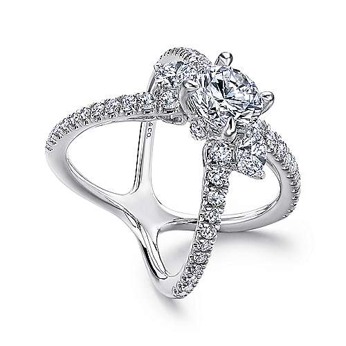 Cara 18k White Gold Round 3 Stones Engagement Ring angle 3