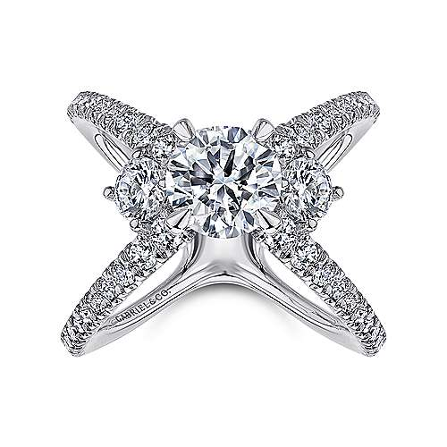 Cara 18k White Gold Round 3 Stones Engagement Ring angle 5