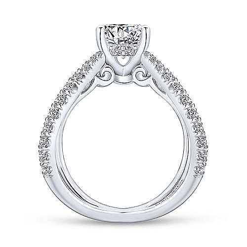 Cara 18k White Gold Round Split Shank Engagement Ring angle 2