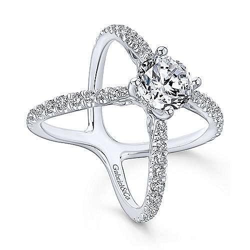 Cara 18k White Gold Round Split Shank Engagement Ring angle 3