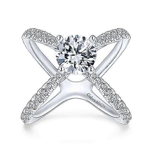 Cara 18k White Gold Round Split Shank Engagement Ring angle 5