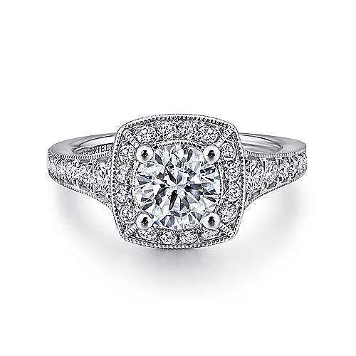 Gabriel - Caraway 14k White Gold Round Halo Engagement Ring