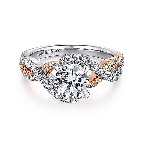 Gabriel - Cardi 14k White And Rose Gold Round Twisted Engagement Ring