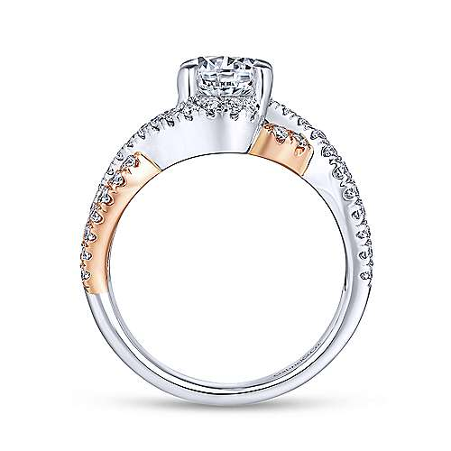 Cardi 14k White And Rose Gold Round Twisted Engagement Ring angle 2