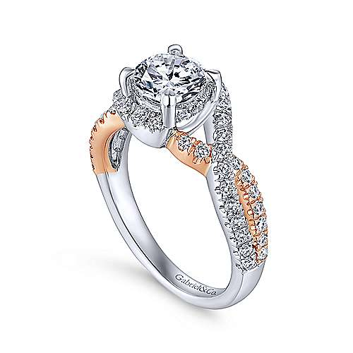 Cardi 14k White And Rose Gold Round Twisted Engagement Ring angle 3