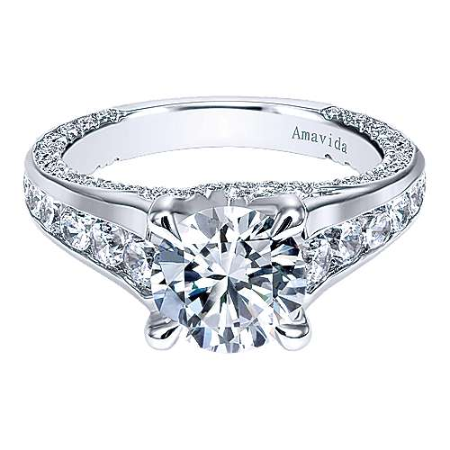 Gabriel - Carela 18k White Gold Round Straight Engagement Ring