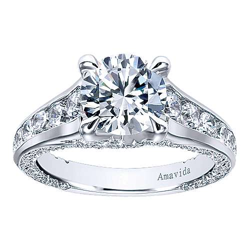 Carela 18k White Gold Round Straight Engagement Ring angle 5