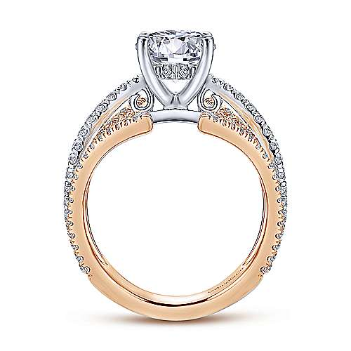 Carissa 18k White And Rose Gold Round Split Shank Engagement Ring angle 2