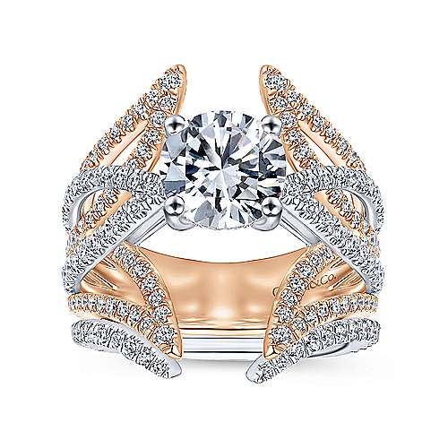 Carissa 18k White And Rose Gold Round Split Shank Engagement Ring angle 4