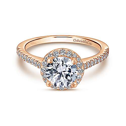 Gabriel - Carly 14k Rose Gold Round Halo Engagement Ring