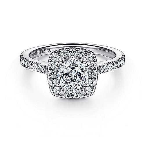 Gabriel - Carly 14k White Gold Cushion Cut Halo Engagement Ring