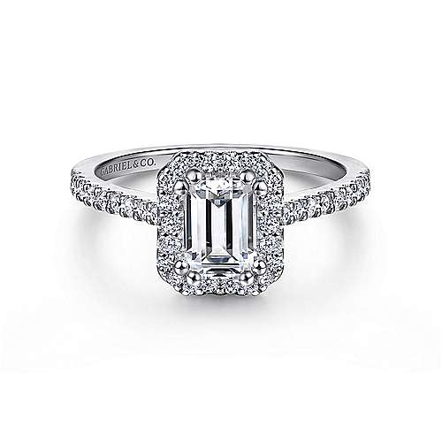 Gabriel - Carly 14k White Gold Emerald Cut Halo Engagement Ring