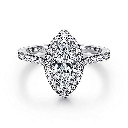 Gabriel - Carly 14k White Gold Marquise  Halo Engagement Ring