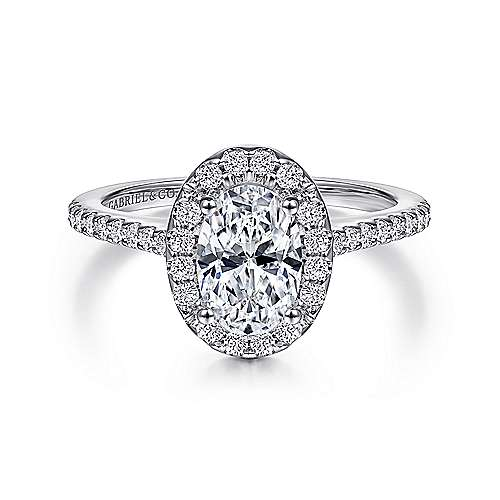 Gabriel - Carly 14k White Gold Oval Halo Engagement Ring