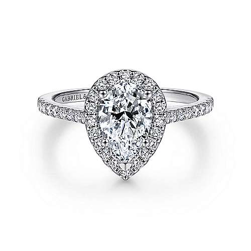 Gabriel - Carly 14k White Gold Pear Shape Halo Engagement Ring