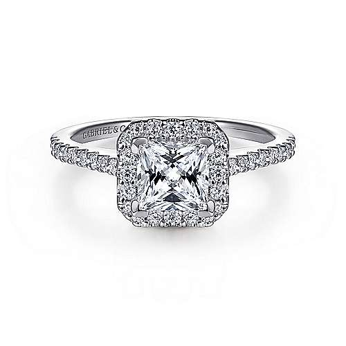 Gabriel - Carly 14k White Gold Princess Cut Halo Engagement Ring
