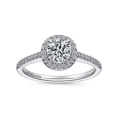 Carly 14k White Gold Round Halo Engagement Ring angle 5