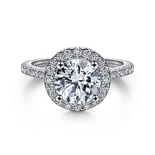 Carly 14k White Gold Round Halo Engagement Ring angle 1