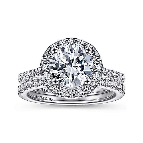 Carly 14k White Gold Round Halo Engagement Ring angle 4