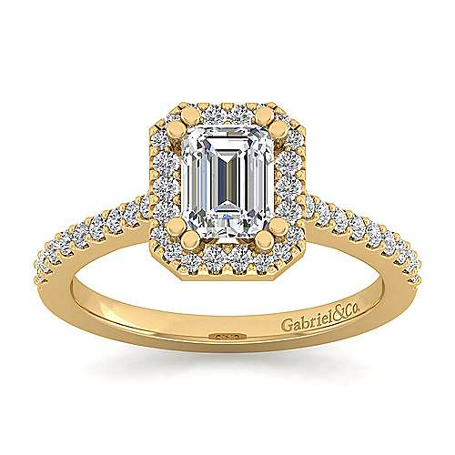 Carly 14k Yellow Gold Emerald Cut Halo Engagement Ring angle 5